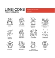 Teen problems- line design icons set vector image