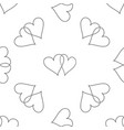 two linked hearts icon seamless pattern vector image