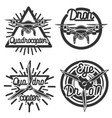 Vintage Quadrocopter emblems vector image