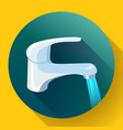 water tap with flowing water metal water faucet vector image