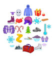 winter things icons set cartoon style vector image