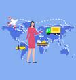 worldwide logistics woman monitoring transport vector image vector image