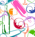 Wine glasses and bottles seamless pattern vector image