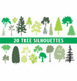 20 tree silhouettes different shapes vector image vector image
