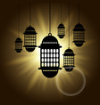 arabic lantern black shadow silhouette with sun vector image vector image