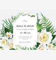 art elegant floral wedding invite save date vector image