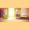 bedroom interior cartoon double bed wardrobe vector image