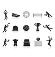black volleyball icons set vector image vector image