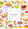 breakfast recipes banner template with tasty vector image vector image