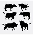 bull and buffalo animal silhouette vector image vector image