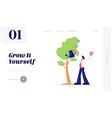 business man watering trees in garden with water vector image vector image