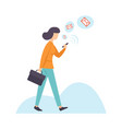 businesswoman chatting using smartphone woman vector image vector image