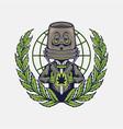 cannabis mascot logo weed design vector image vector image