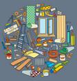 cartoon doodles home repair round vector image