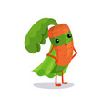 cartoon superhero carrot character standing vector image vector image