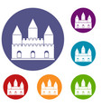 castle tower icons set vector image vector image