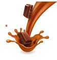 chocolate pieces in liquid caramel splash vector image vector image
