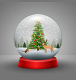 christmas snow globe with snowfall vector image