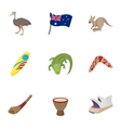 Country Australia icons set cartoon style vector image vector image