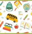 Cute school cartoon seamless pattern vector image