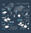 dark blue infographics vector image