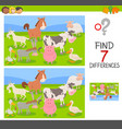 difference game with farm animals group vector image vector image