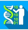 DNA Code Lecture Flat Long Shadow Square Icon vector image vector image