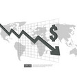 dollar money fall down symbol with white vector image vector image