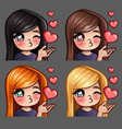 emotion icons happy female kisses vector image