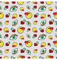 Eyes Heart Locks and Emoticons Seamless Pattern vector image vector image