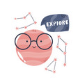 funny composition with planet in glasses vector image