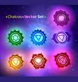 glowing chakras vector image vector image