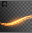 golden light streak transparent effect background vector image vector image