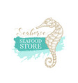 golden seahorse seafood store and fish market vector image