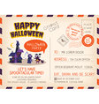 Happy Halloween party Vintage Postcard invitation vector image vector image