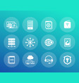 hosting servers network icons set vector image vector image