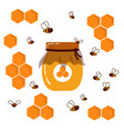 icon jar wih homemade honey honeycomb and bees vector image