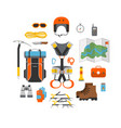 icon set flat design equipment for climbing vector image