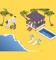 isometric bungalow with pool and dining table vector image