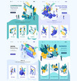 isometric cooperation teamwork business process vector image vector image