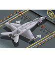 Isometric Fighter Bomber Landed in Rear View vector image