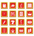 laundry icons set red vector image vector image