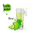 lime juice fresh hand drawn watercolor fruits and vector image vector image