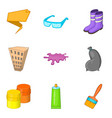mending icons set cartoon style vector image vector image