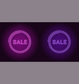 neon icon of purple and violet sale badge vector image vector image