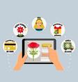 order flowers online concept vector image