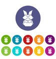 origami bunny icons set color vector image vector image