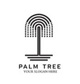 palm tree logo with line design vector image