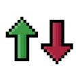 pixel arrow showing an increase and decrease vector image vector image
