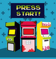 press start vintage arcade design vector image vector image